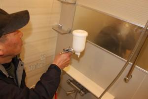 浴室鏡へのセルフィール施工